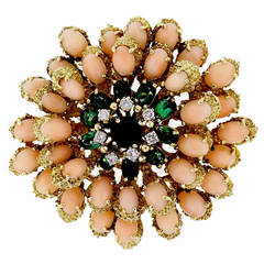 Le Triomphe Coral Tourmaline Diamond Gold Pin Pendant