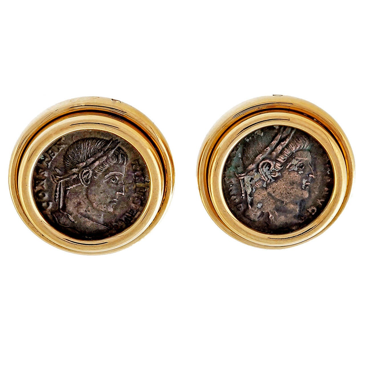 Bulgari Ancient Roman Coin Gold Earrings