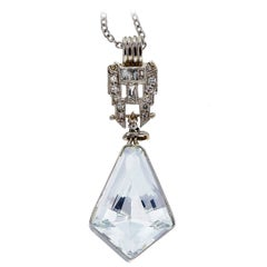 6.50 Carat Aquamarine Diamond Platinum Kite Shaped Pendant Necklace