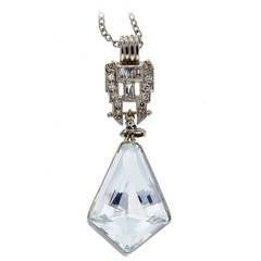 Aquamarine Diamond Platinum Kite Shaped Pendant
