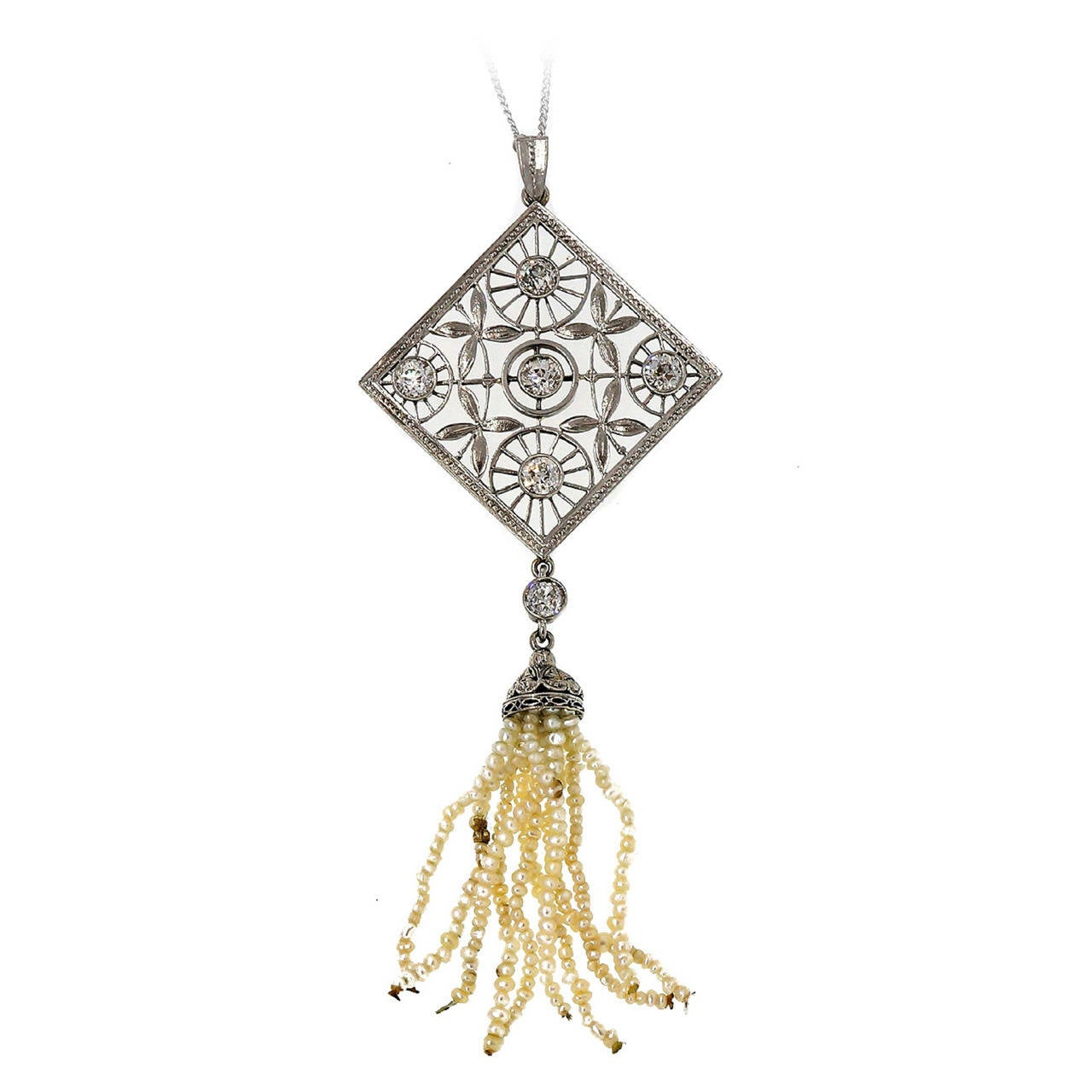 Victorian Old European Diamond And Pearl Tassel Platinum Pendant Necklace