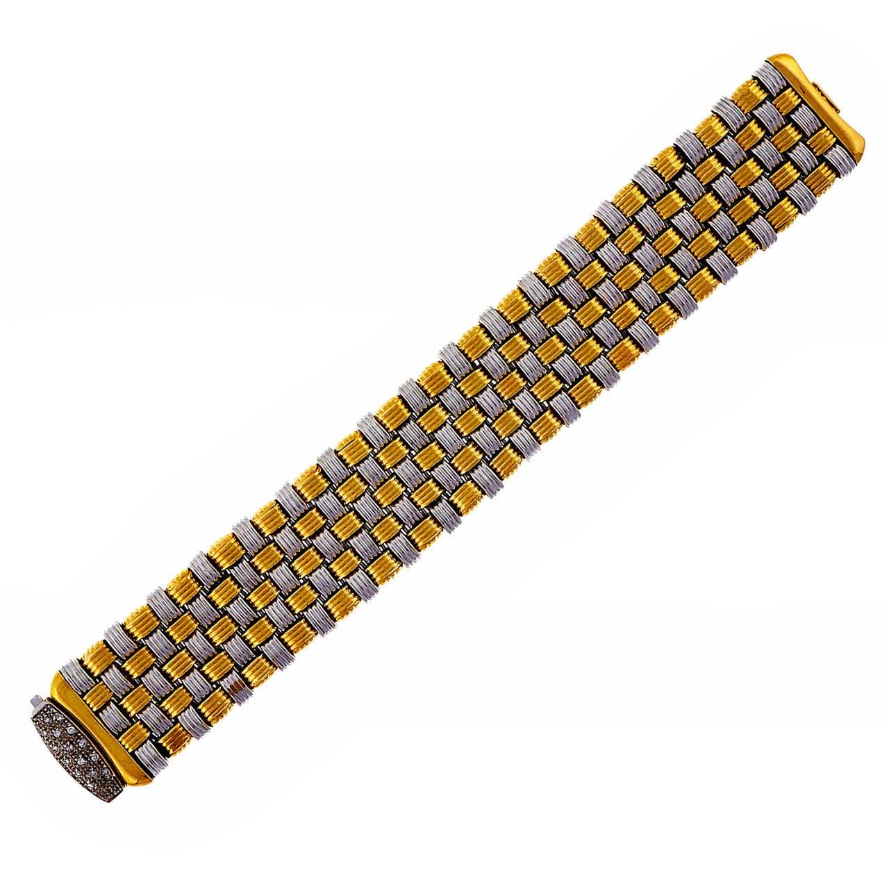 Italian Wide Two Color Gold Mesh Bracelet 1960