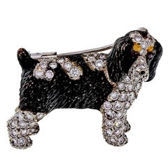 E. Wolfe 2.51 Carat Brittany Springer Spaniel Diamond Ruby Gold Dog Brooch