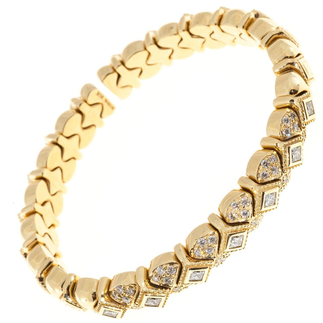 Sonia B Galerie de Bijoux Diamond Gold Flex Bracelet