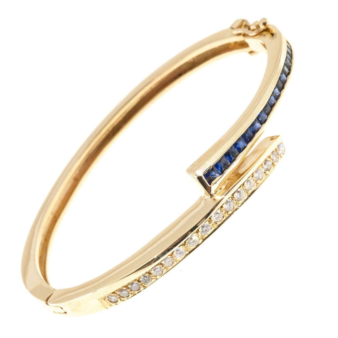 Square Sapphire Diamond Gold Bangle Bracelet