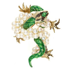 Green Enamel Freshwater Pearl Gold Dragon Brooch
