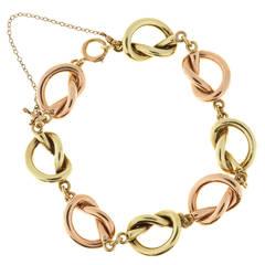 Solid Pink and Green Gold Knot Link Bracelet