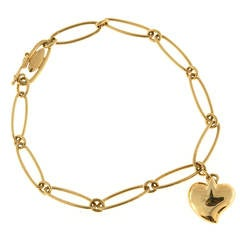 Tiffany & Co. Elsa Peretti Gold Heart Charm Bracelet
