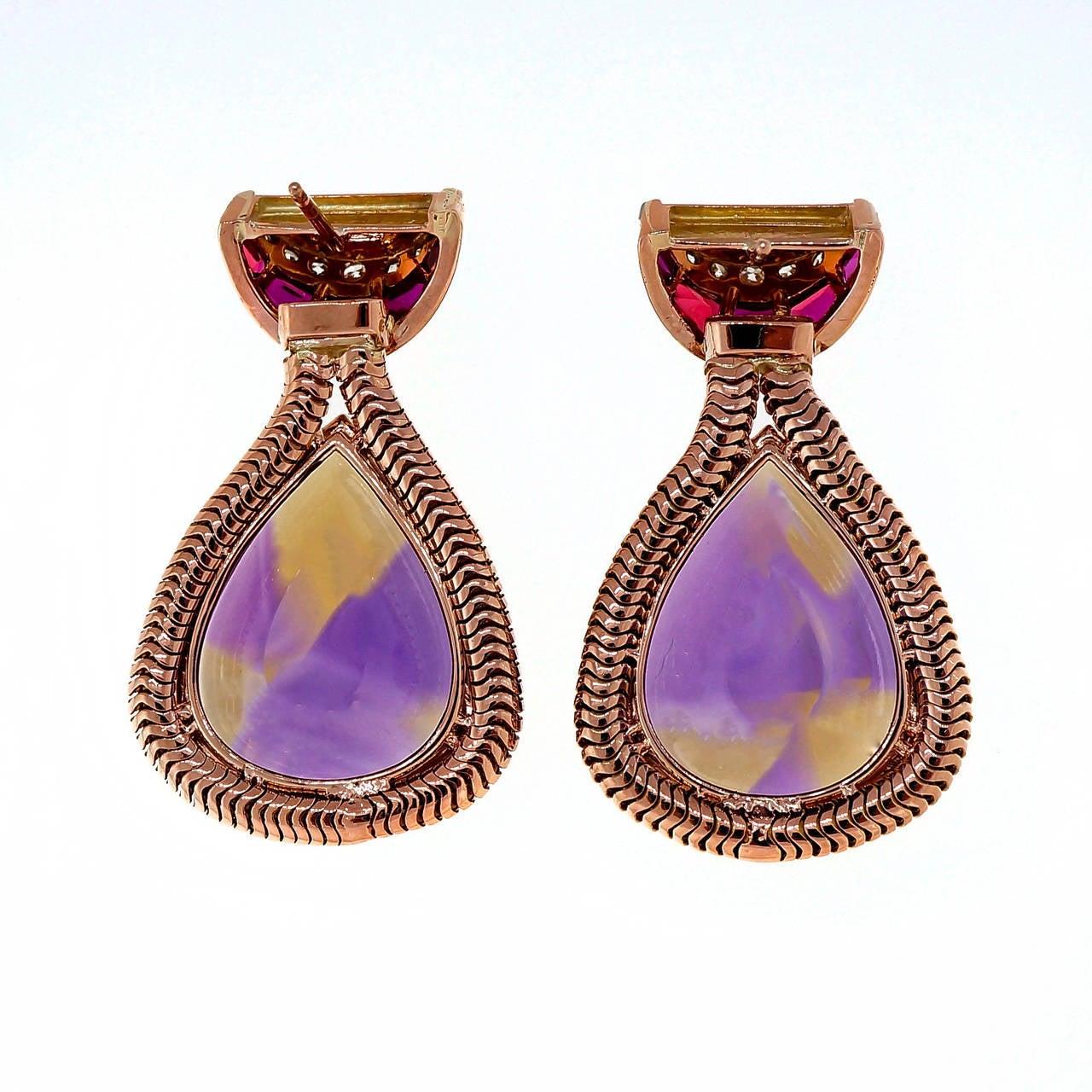 Unique Pear Shaped Amethyst Citrine Gold Dangle Earrings 2