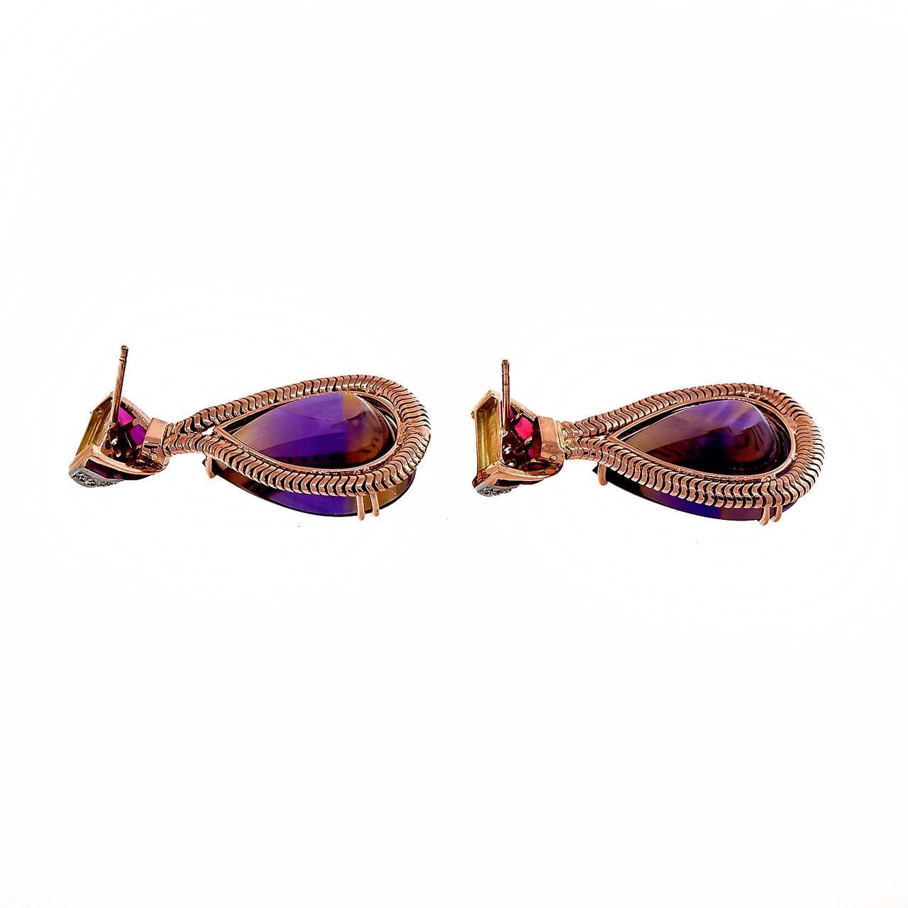 Unique Pear Shaped Amethyst Citrine Gold Dangle Earrings 3