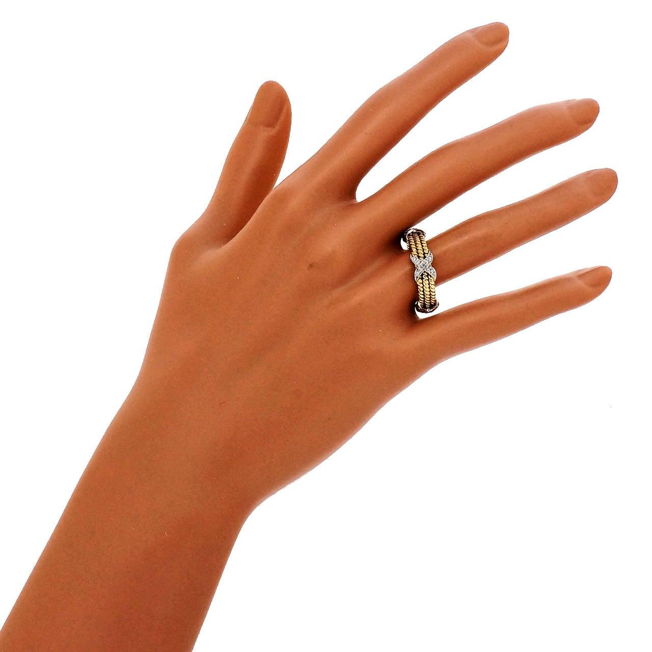 bf887daf939b0 Tiffany & Co. Schlumberger Diamond Gold Platinum Three Row Rope X Ring