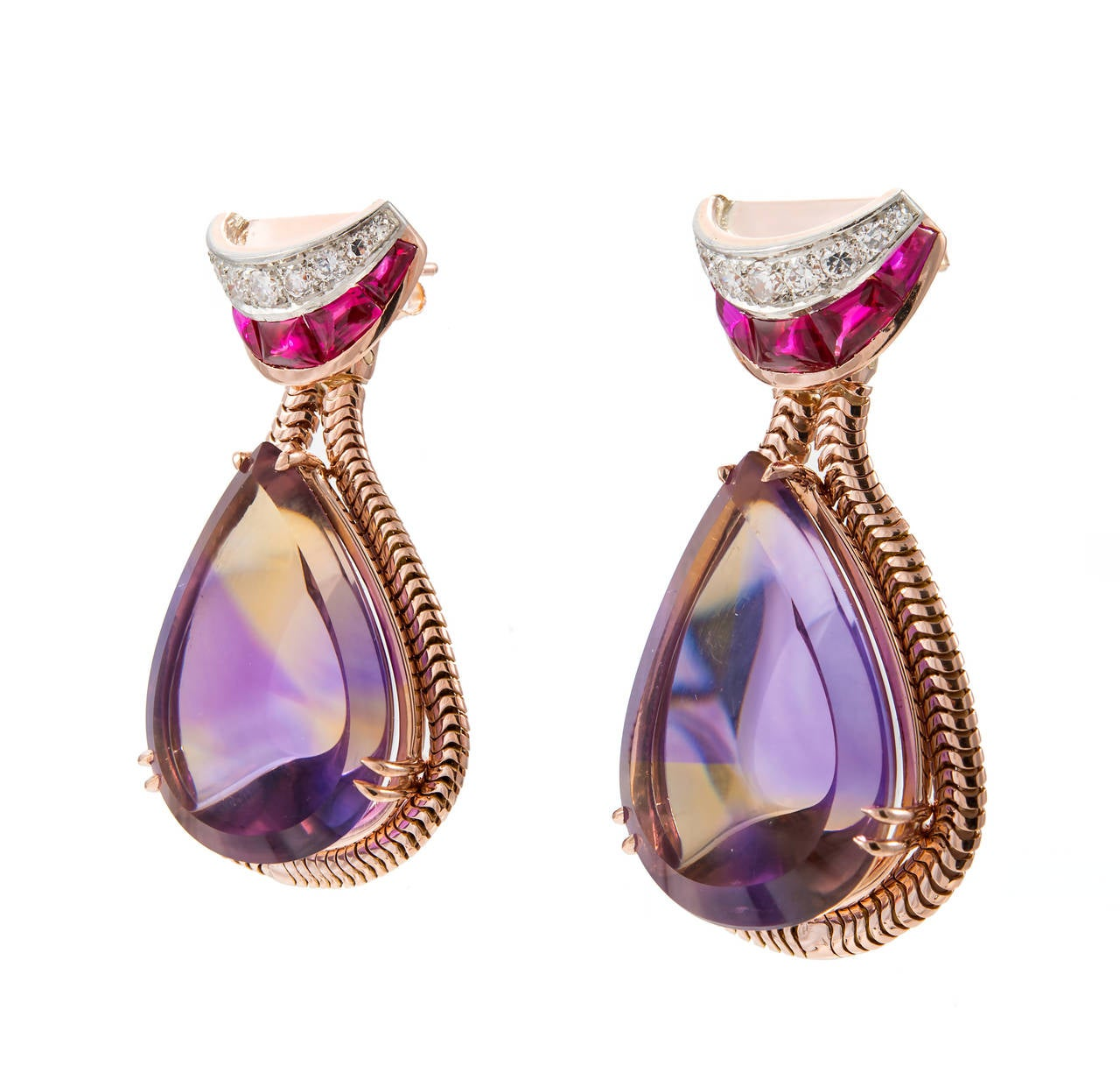 Unique Pear Shaped Amethyst Citrine Gold Dangle Earrings For Sale 1