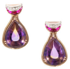 Unique Pear Shaped Amethyst Citrine Gold Dangle Earrings