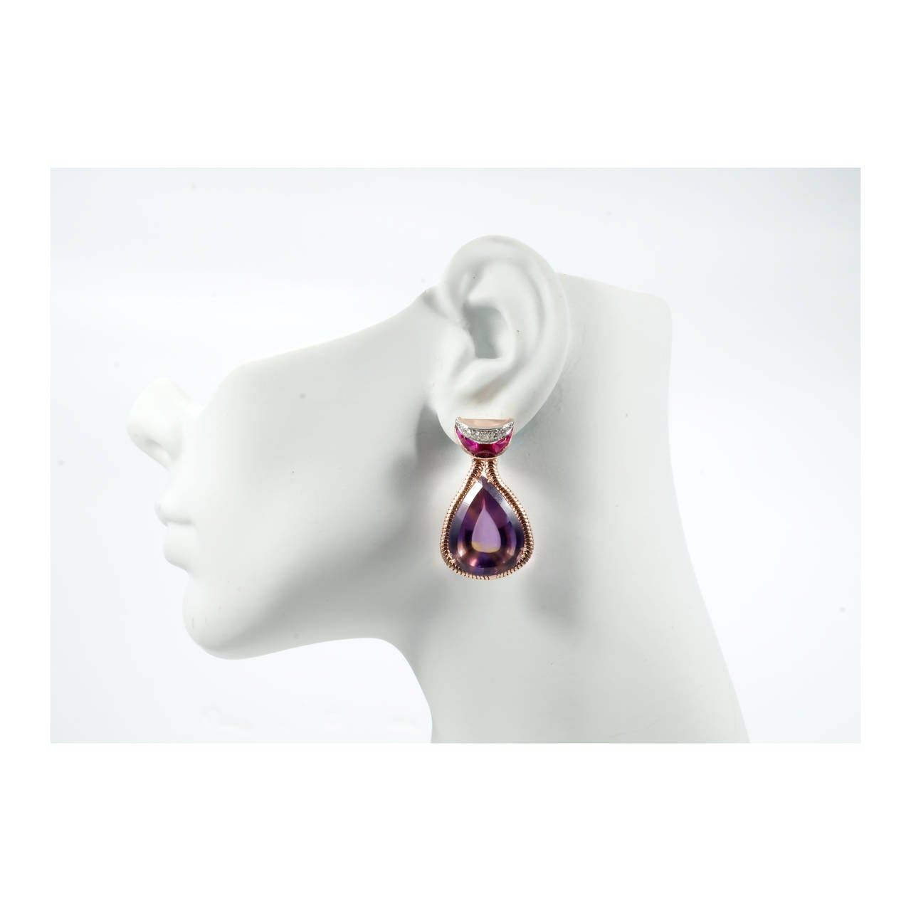 Unique Pear Shaped Amethyst Citrine Gold Dangle Earrings For Sale 2