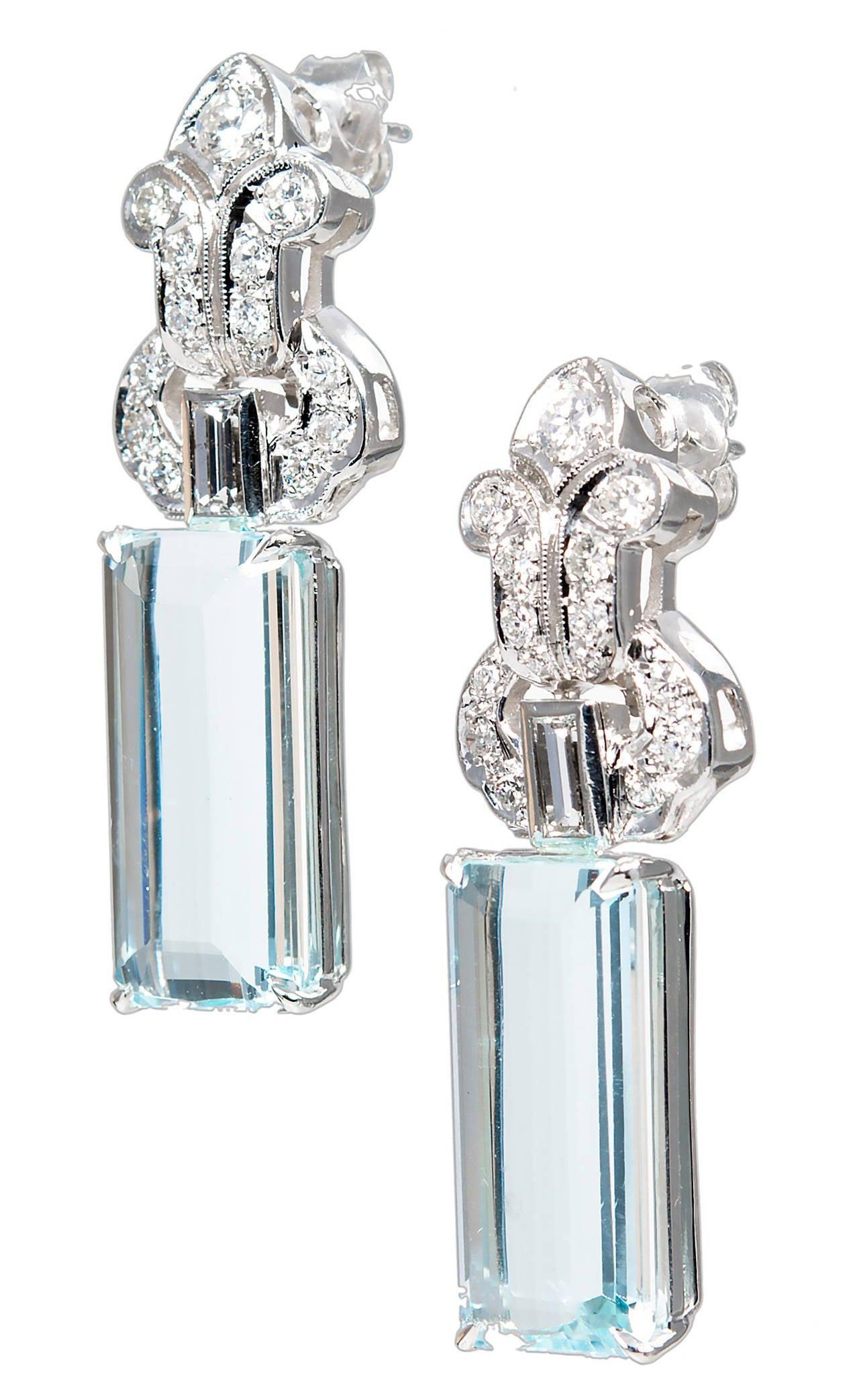 Natural Aquamarine Diamond Platinum Dangle Earrings For