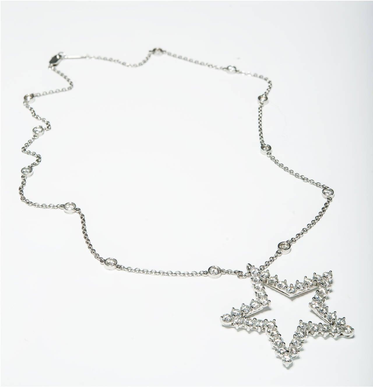 Modern Tiffany & Co. Diamond Platinum Pendant Necklace For Sale
