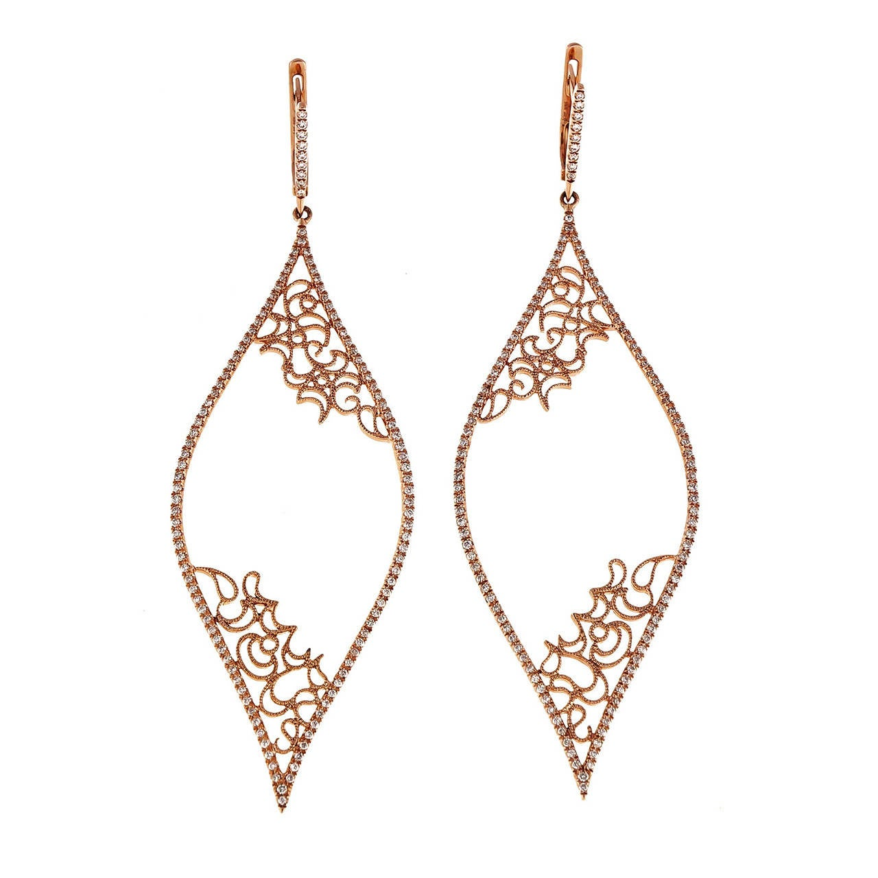 Diamond Micro Pave Rose Gold Dangle Earrings For
