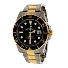 Rolex Yellow Gold Steel Submariner Oyster Band Wristwatch Ref 116613