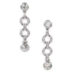 3.58 Carat Old European Cut Diamond Platinum Dangle Earrings