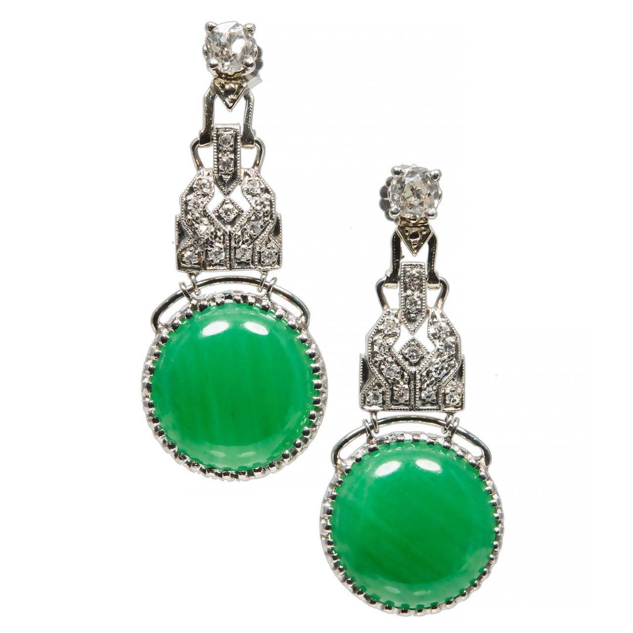 Gia Cert Jadeite Jade Old Mine Diamond Platinum Dangle Earrings For