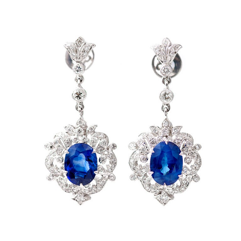 Royal Blue Sapphire Diamond Gold Dangle Earrings For Sale