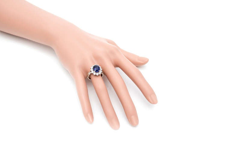 Oval Blue Purple Sapphire Diamond Halo Engagement Ring For Sale 1