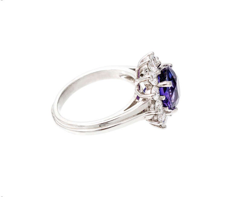 Oval Blue Purple Sapphire Diamond Halo Engagement Ring For Sale 2
