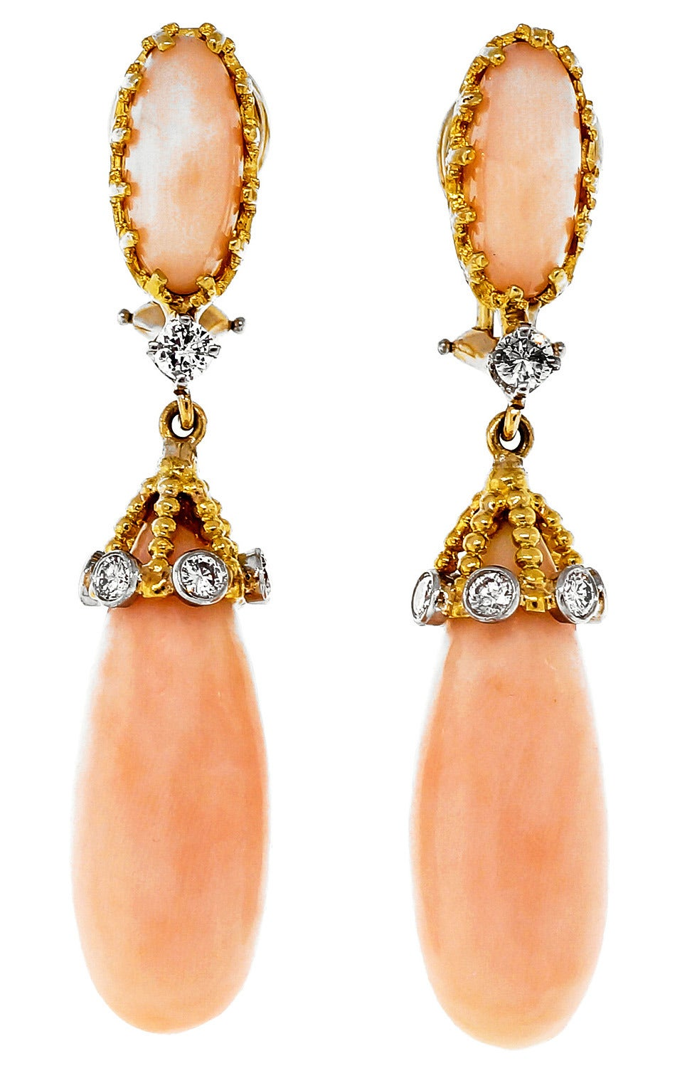 Angel Skin Coral Diamond Yellow Gold Dangle Earrings For Sale