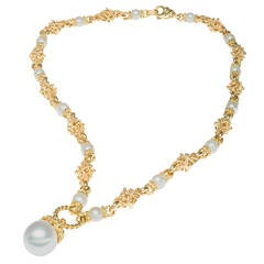 Heavy South Sea Cultured Pearl Gold Link Chain Necklace