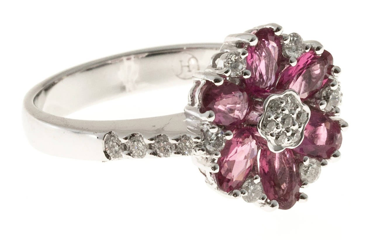 Pink Tourmaline Diamond White Gold Ring For Sale 1