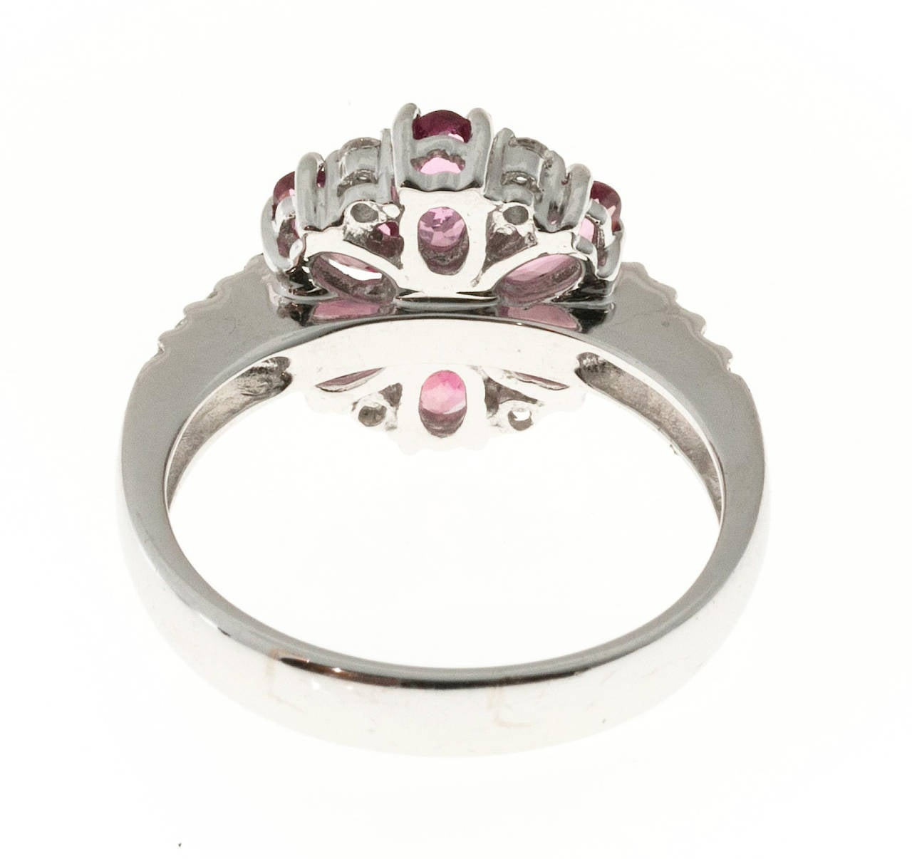 Pink Tourmaline Diamond White Gold Ring In Good Condition For Sale In Stamford, CT