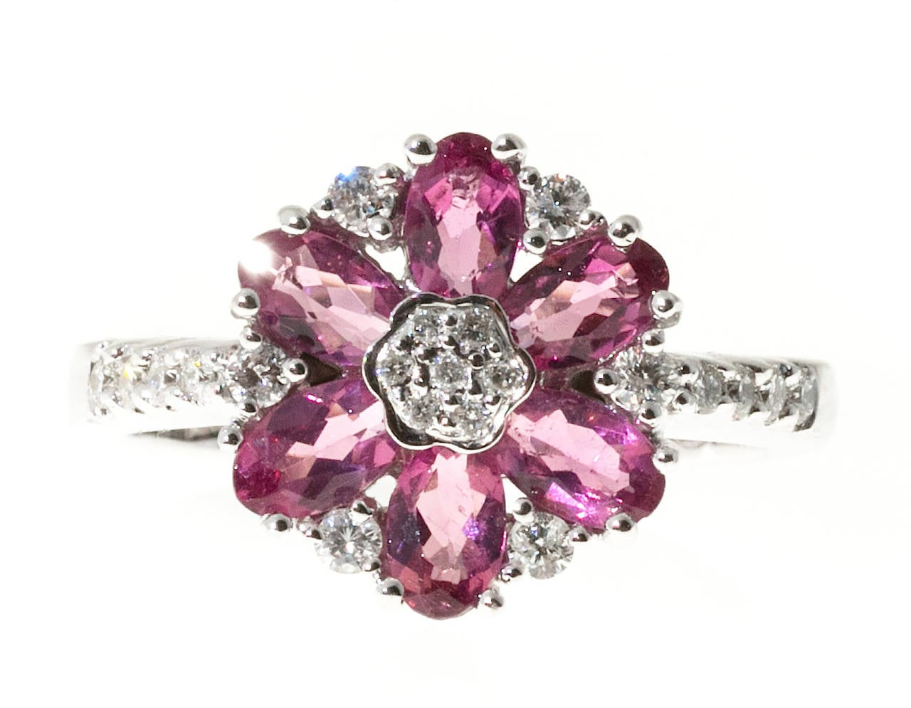 Modern Pink Tourmaline Diamond White Gold Ring For Sale