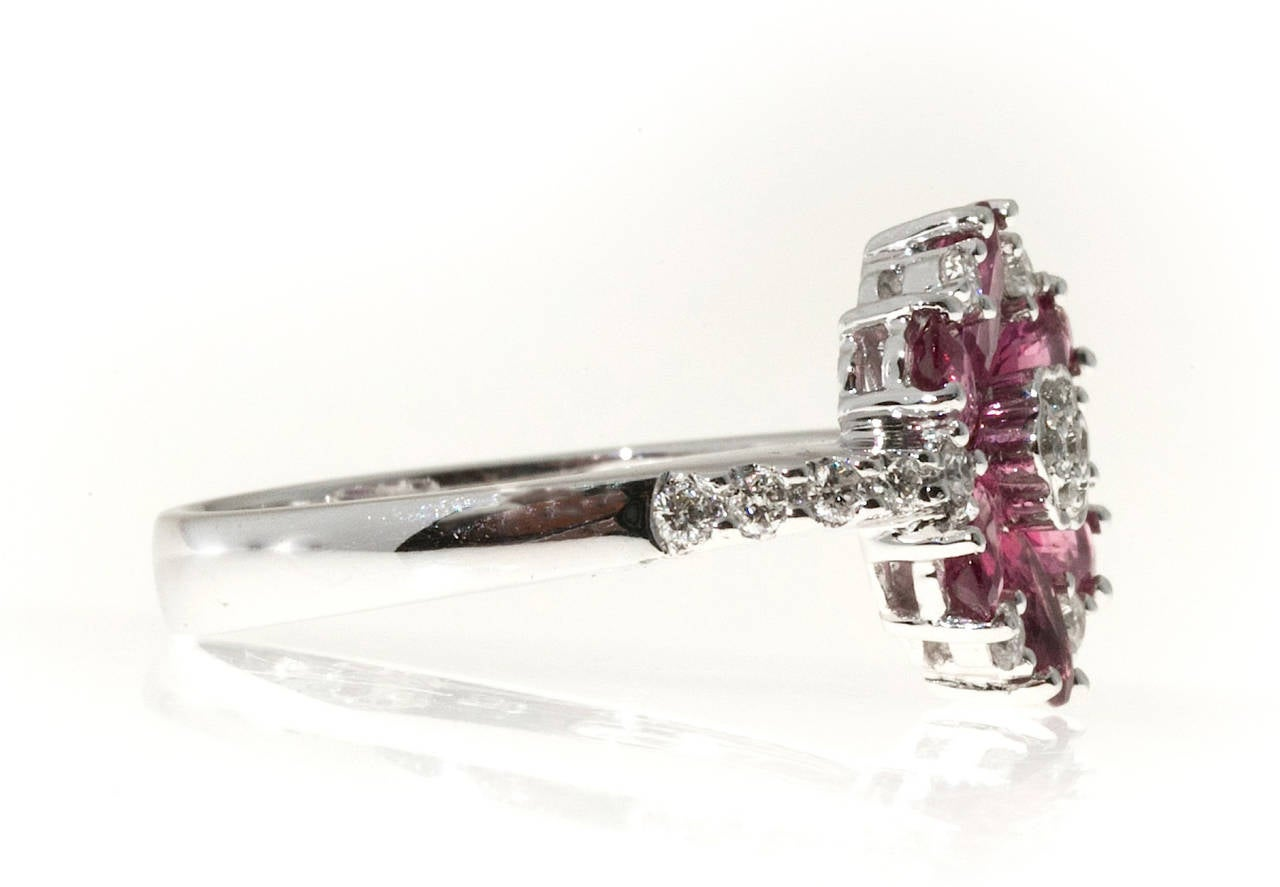 Pink Tourmaline 1.80ct 18k JH white gold ring.