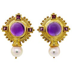 Seidengang Amethyst Pink Tourmaline Baroque Pearl Byzantine Gold Earrings