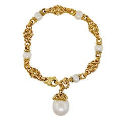 Heavy South Sea Cultured Pearl Textured Gold Bracelet