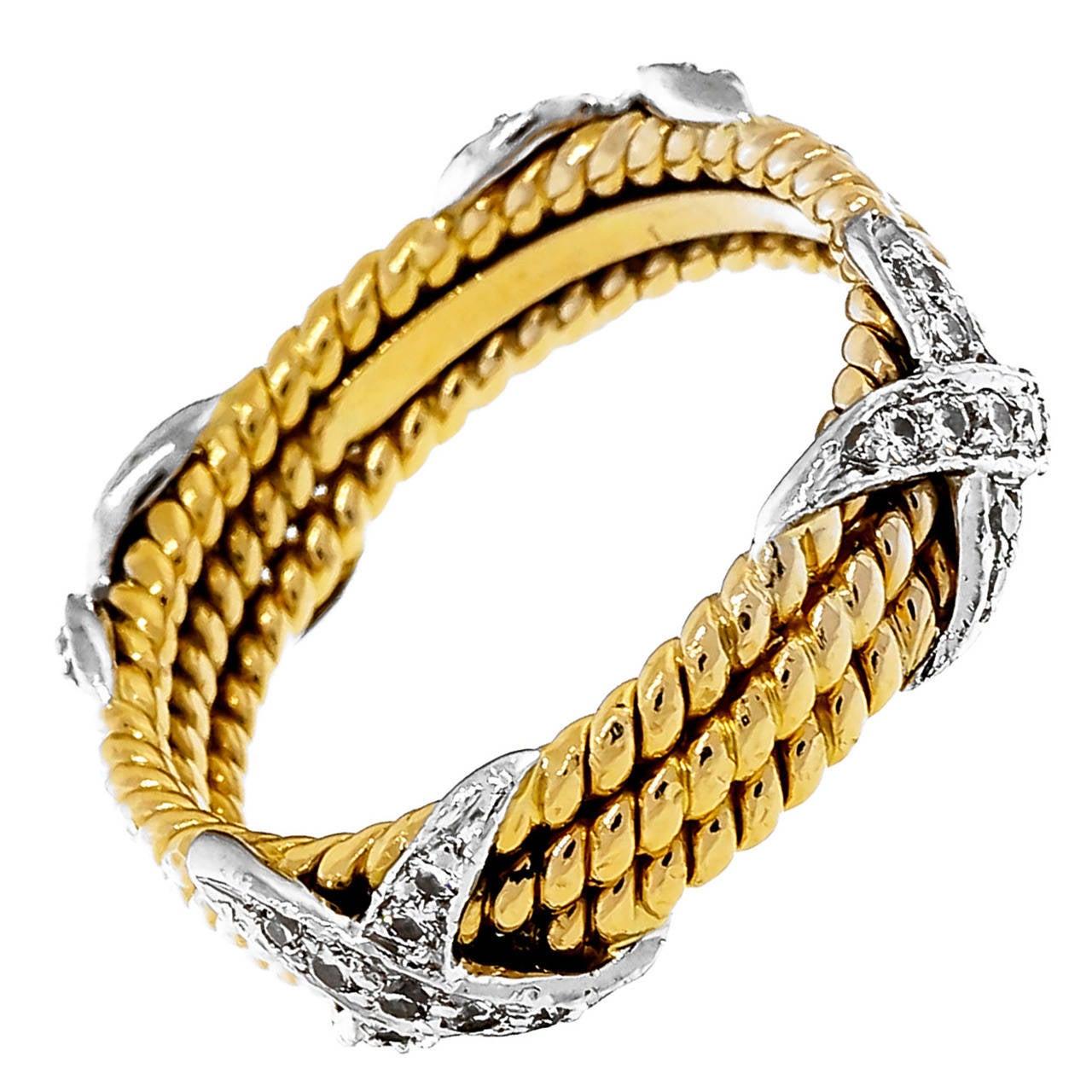 13de88be54c8c Tiffany & Co. Schlumberger Diamond Gold Platinum Three Row Rope X Ring