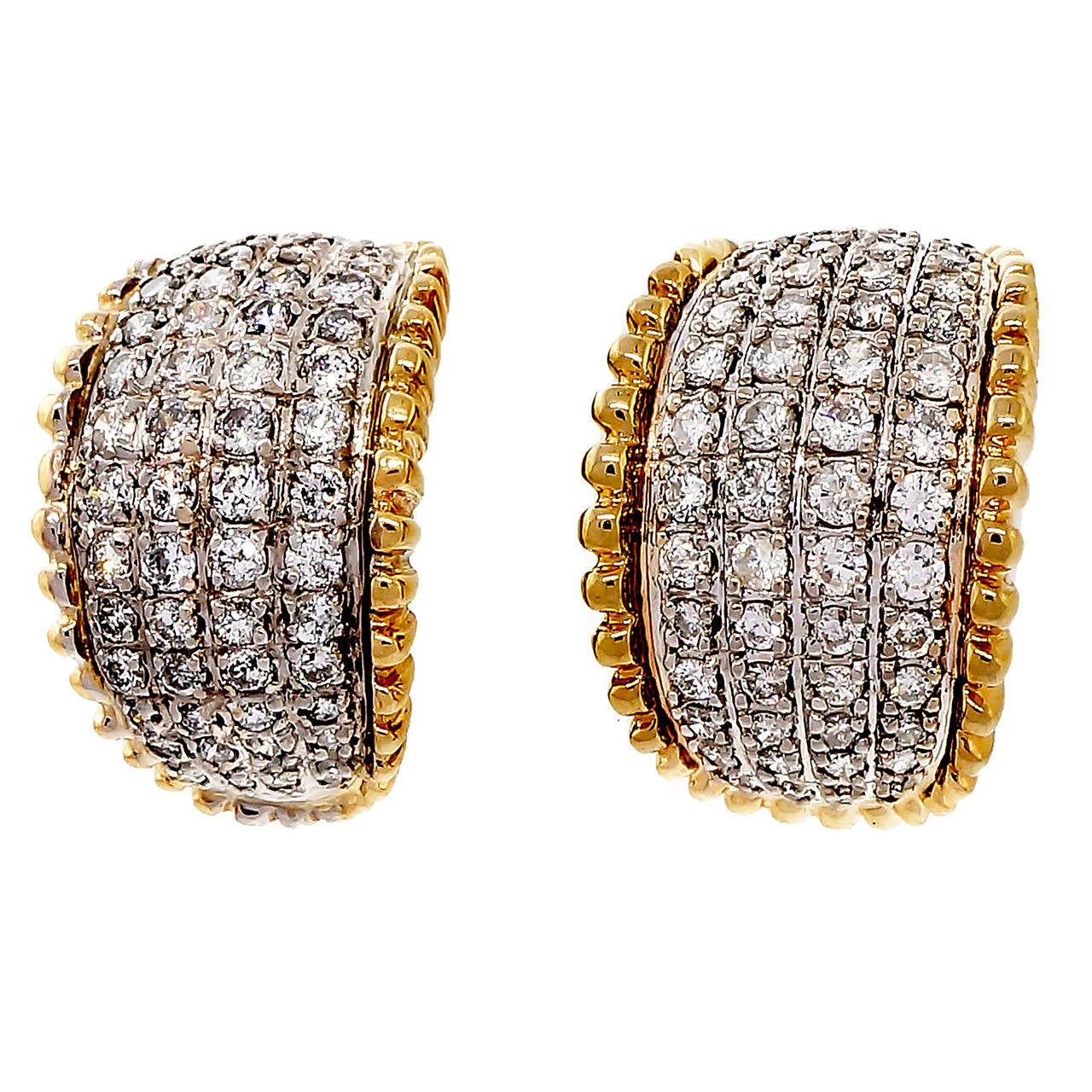 1950s Curved Diamond Gold Domed Earrings