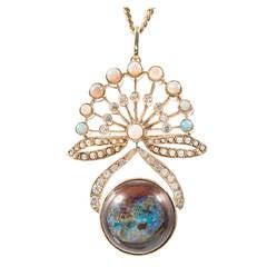 Boulder Opal Pearl Diamond Gold Pendant Necklace