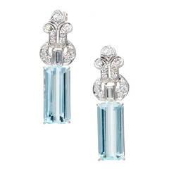 Natural Aquamarine Diamond Platinum Dangle Earrings
