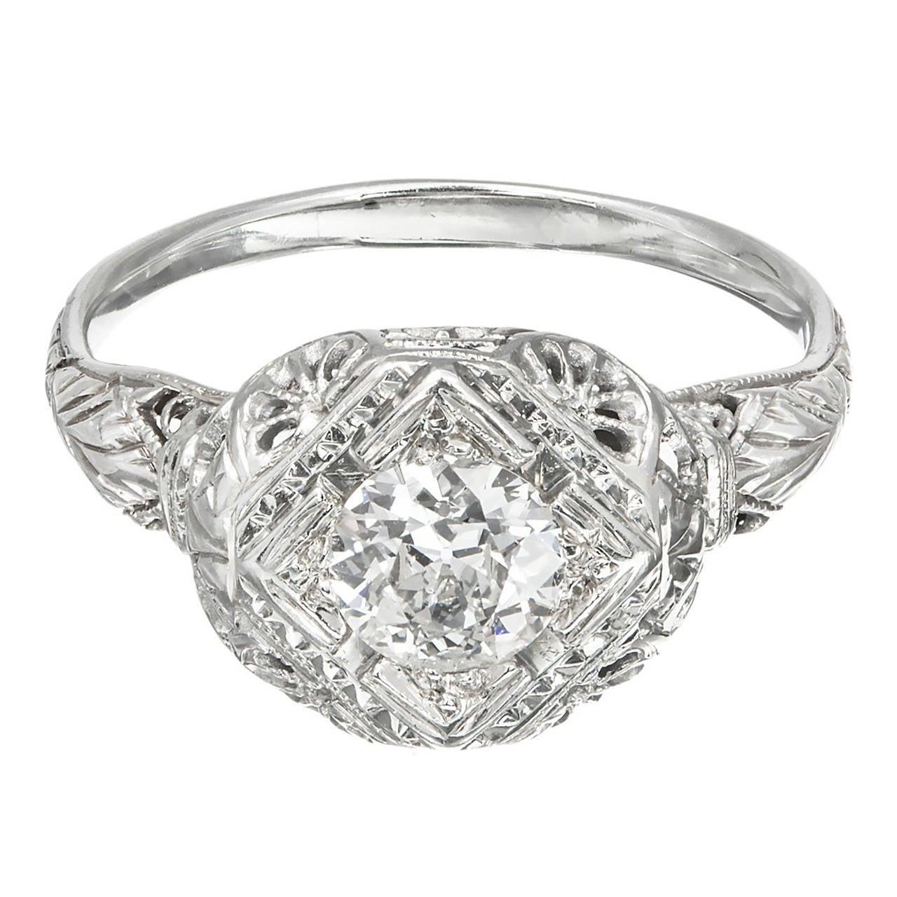 EGL Certified .65 Carat Old European Cut Diamond Gold Filigree Engagement Ring