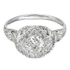 EGL Certified .65 Carat Old European Cut Diamond Gold Filigree Engagement Ring