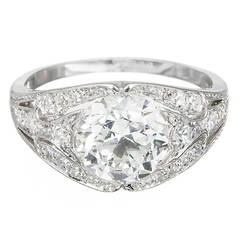 GIA Cert Ideal Old European Cut Diamond Platinum Engagement Ring