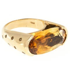 Sonia B Oval Golden Citrine Yellow Sapphire Gold Ring