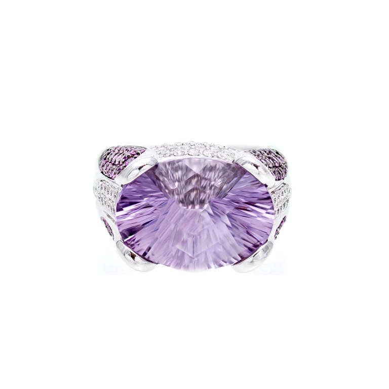 Fantasy Cut Amethyst Pink Sapphire Diamond Gold Ring In Good Condition For Sale In Stamford, CT