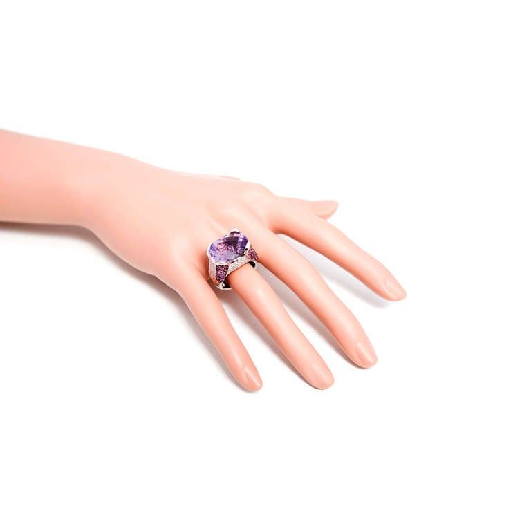 Fantasy Cut Amethyst Pink Sapphire Diamond Gold Ring For Sale 1