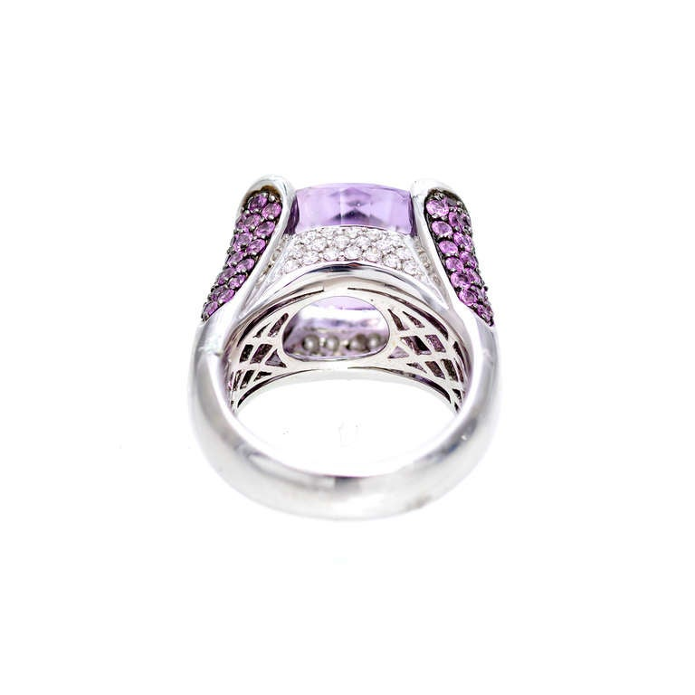 Fantasy Cut Amethyst Pink Sapphire Diamond Gold Ring For Sale 2
