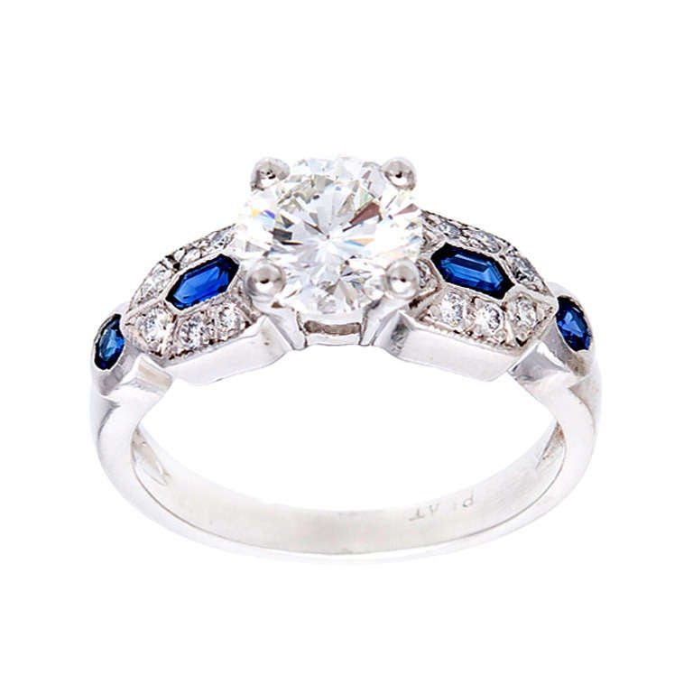 Art Deco Platinum Engagement Ring 1950 1 27ct Diamond Sapphire Ring at 1stdibs