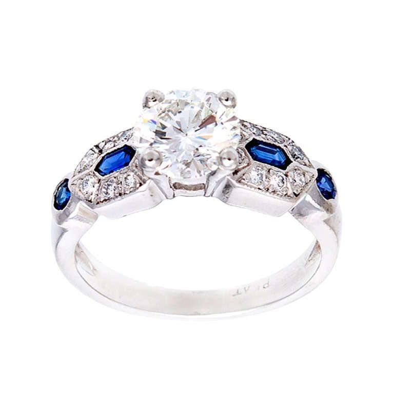 deco platinum engagement ring 1950 1 27ct