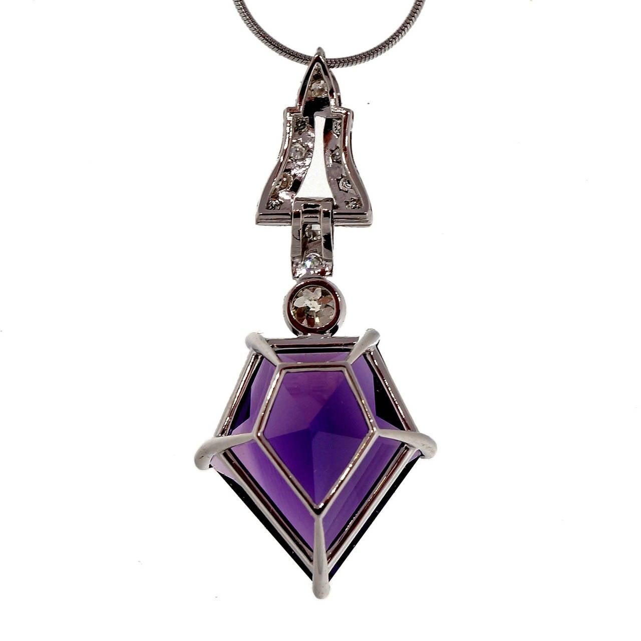 Women's Art Deco Purple Amethyst Diamond Platinum Necklace For Sale