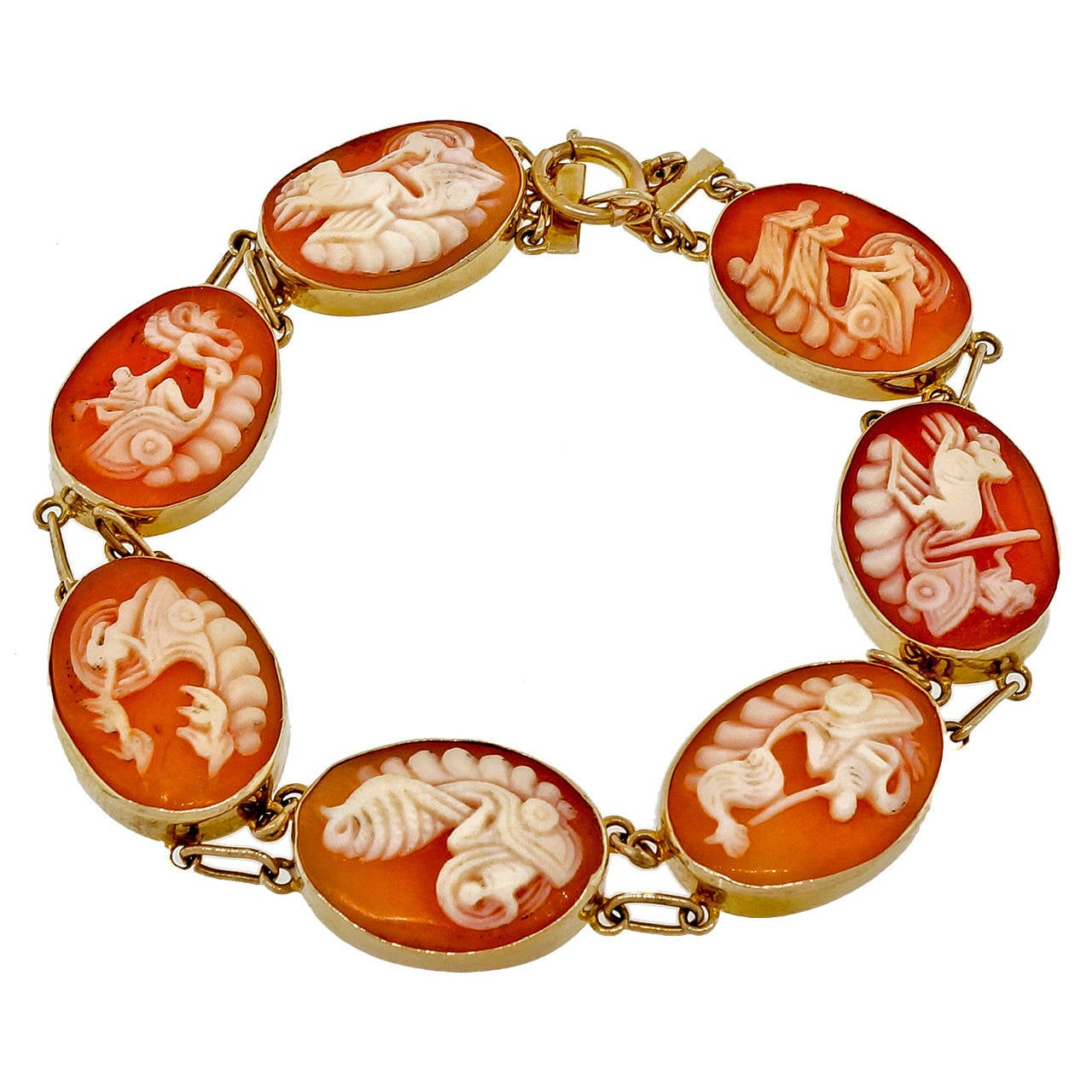 Oval Carved Cameo Yellow Gold Bracelet